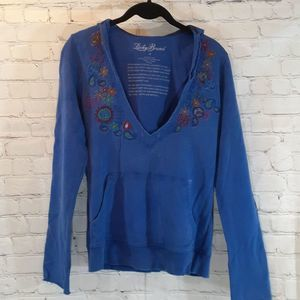 Lucky Brand distressed embroidered sweatshirt